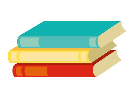 Pila de suministro de libros sobre fondo blanco ilustración vectorial