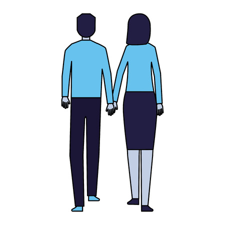 man and woman holding hands walking back view vector illustration