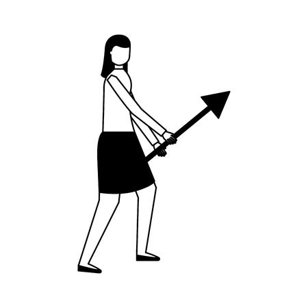 business woman holding arrow white background vector illustration Çizim