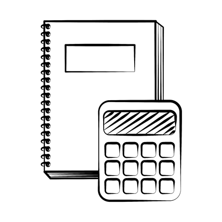 notebook and calculator back to school sketch Çizim