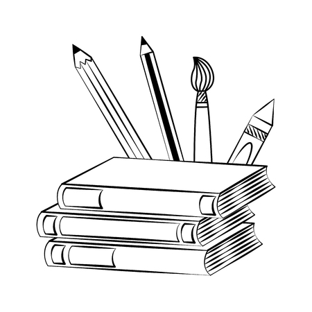 books pencils brush back to school sketch Ilustração