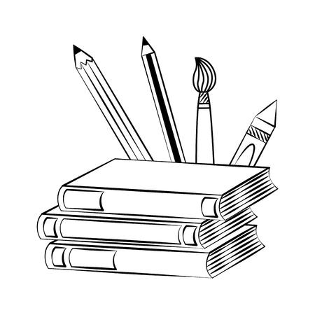 libros lápices cepillo de regreso al bosquejo de la escuela
