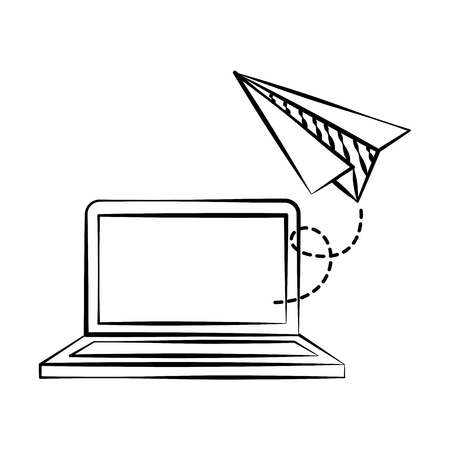 laptop paper plane back to school sketch vector illustration Foto de archivo - 126464228