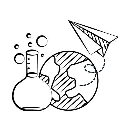 test tube world paper plane back to school sketch vector illustration