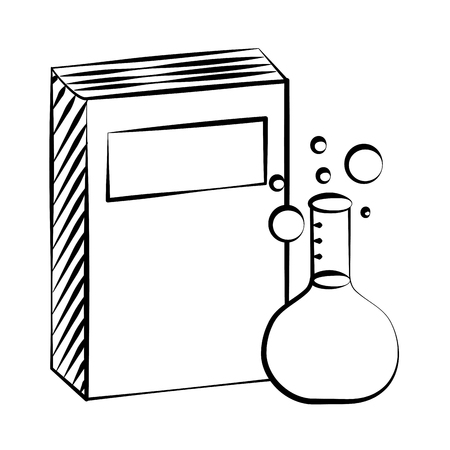 book and chemistry flask back to school sketch vector illustration