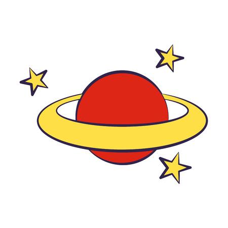 planet stars on white background vector illustration