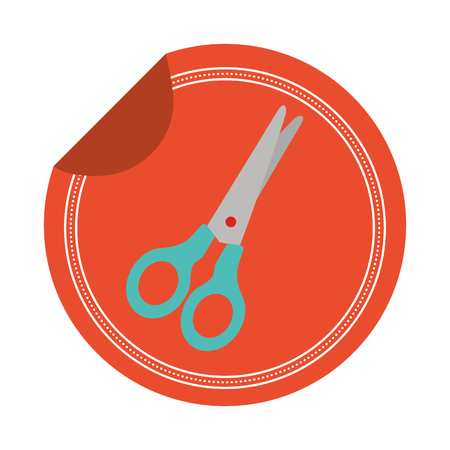 scissors sticker on white background vector illustration