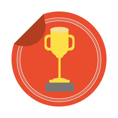 trophy award sticker on white background vector illustration