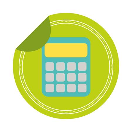 calculator school sticker on white background vector illustration