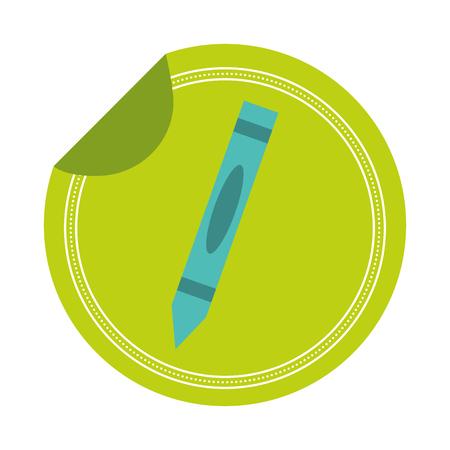 crayon school sticker on white background vector illustration
