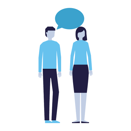 man and woman talking speech bubble vector illustration Stock Illustratie