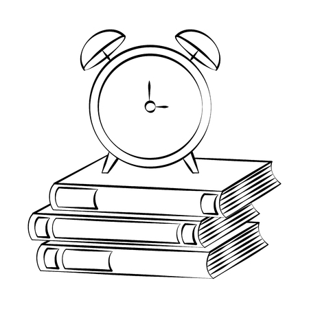 books alarm clock back to school sketch