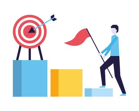 businessman with flag climb chart target vector illustration