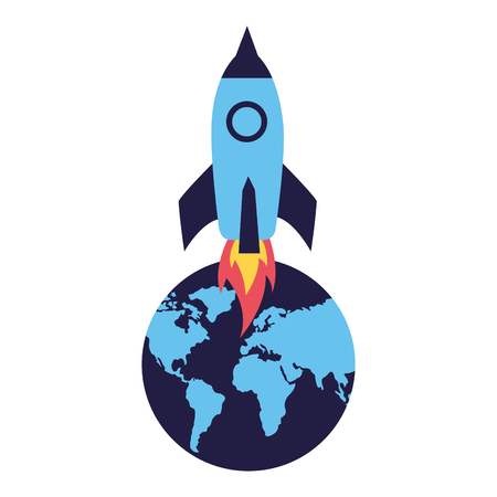 rocket launching world on white background vector illustration Illustration
