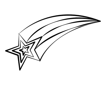 Doodle de estrella fugaz en la ilustración de vector de fondo blanco