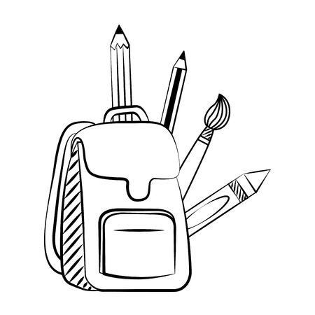 backpack supplies back to school sketch vector illustration