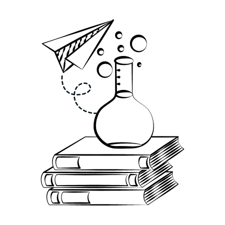 pile books test tube paper plane back to school sketch vector illustration 向量圖像