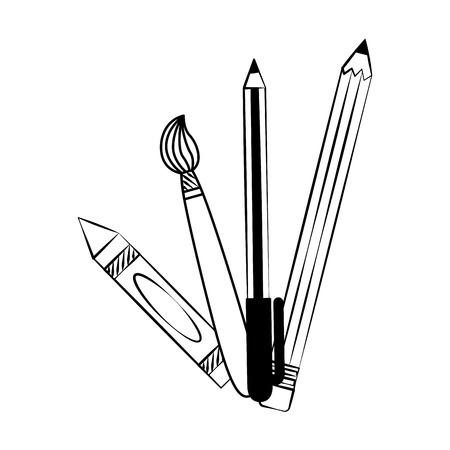 crayon brush pen pencil back to school sketch vector illustration