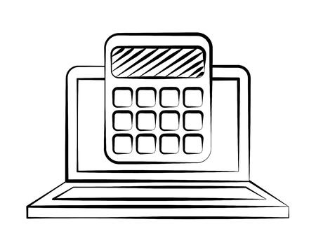 laptop calculator back to school sketch vector illustration