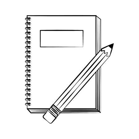 notebook pencil back to school sketch vector illustration Illustration