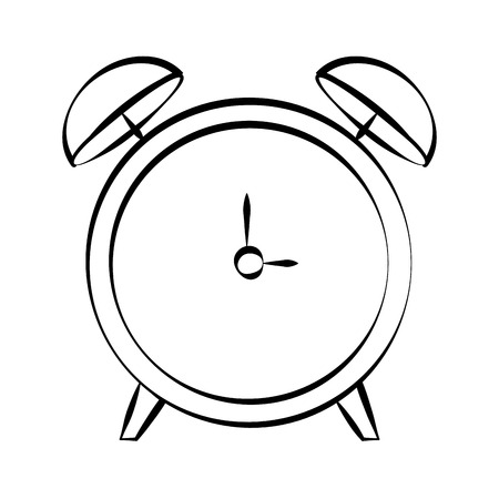 alarm clock doodle on white background vector illustration