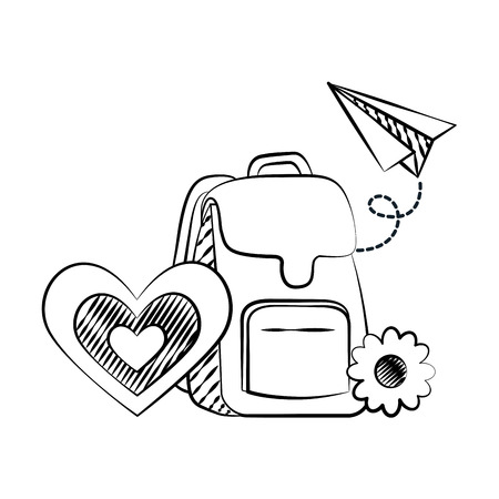 backpack paper plane flower back to school sketch vector illustration Foto de archivo - 126464328