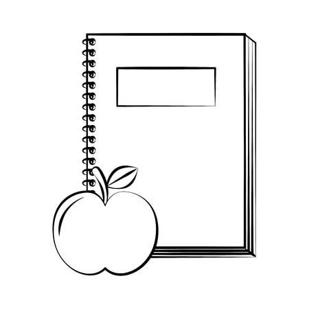 notebook and apple back to school sketch vector illustration Illustration