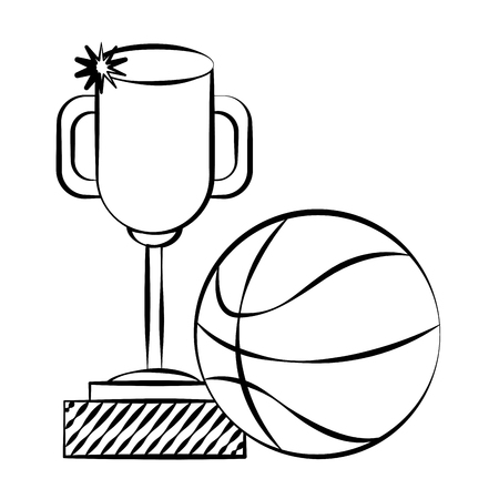 trophy award basketball ball doodle  vector illustration