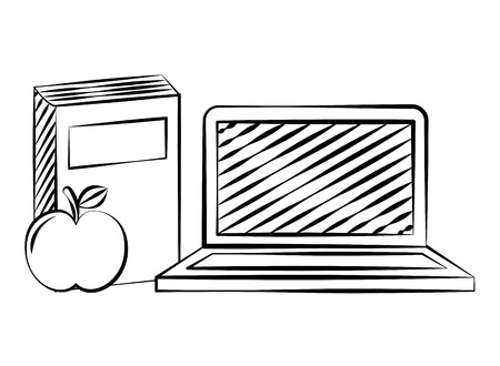 laptop book and apple back to school sketch vector illustration Çizim