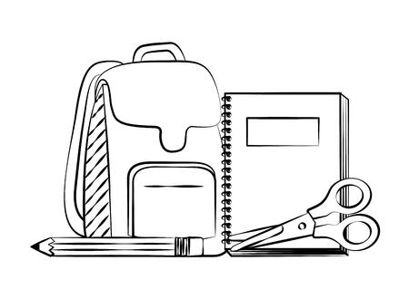 backpack notebook scissors pencil back to school sketch vector illustration