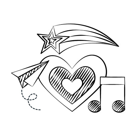 heart plane note music shooting star doodles vector illustration