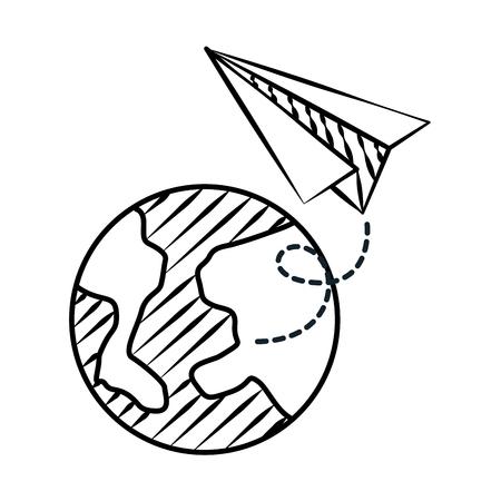 Planet Erde und Papierflugzeug kritzelt Vektorillustration