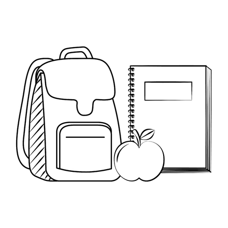 backpack notebook and apple back to school sketch vector illustration