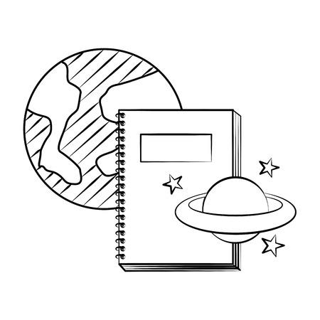 Notebook world planet back to school sketch ilustración vectorial
