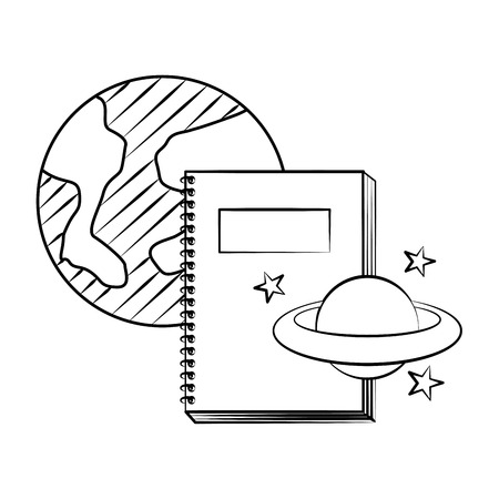 notebook world planet back to school sketch vector illustration