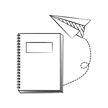 notebook paper plane back to school sketch vector illustration