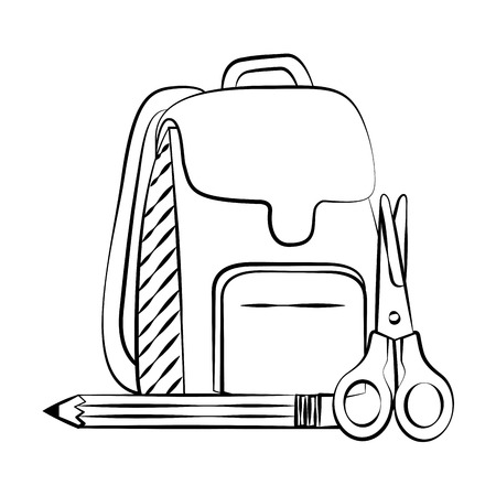 backpack scissors pencil back to school sketch vector illustration Иллюстрация