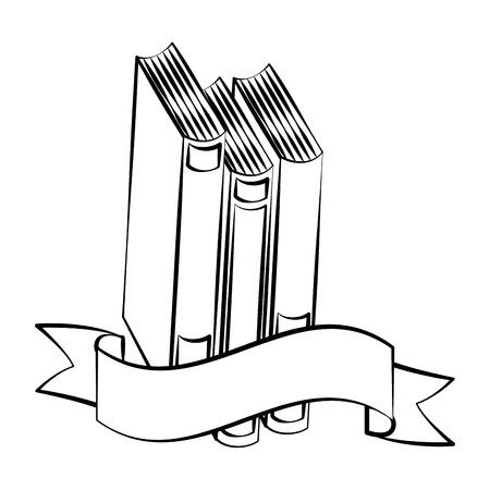 books back to school sketch ribbon vector illustration Ilustração