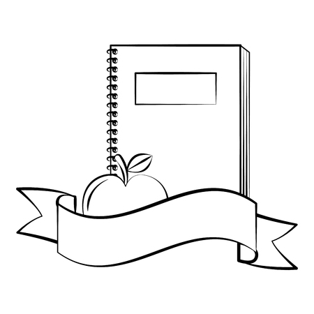 notebook and apple back to school sketch vector illustration Illustration