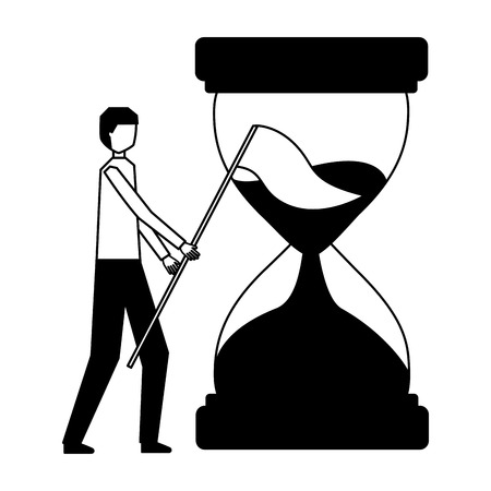 businessman with flag and hourglass time vector illustration Illustration