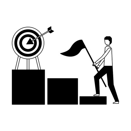 businessman with flag climb chart target vector illustration
