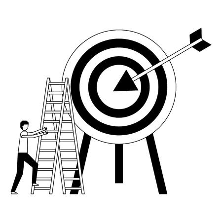 businessman climb stairs target arrow vector illustration