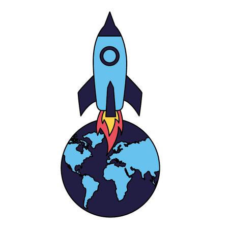 rocket launching world on white background vector illustration