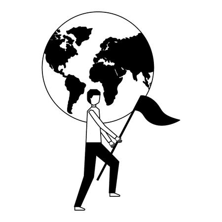 businessman with flag world business vector illustration