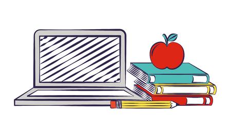 Ordinateur portable livres crayon apple retour à l'école vector illustration