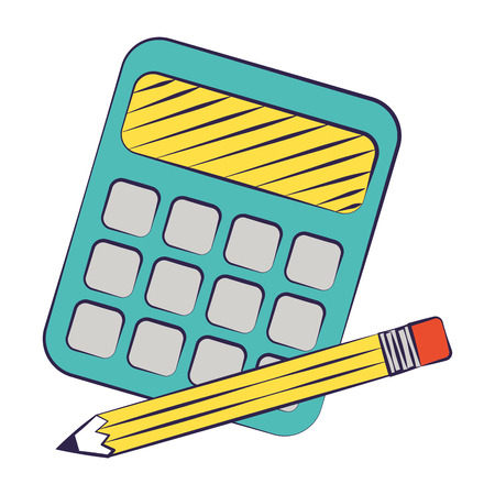 calculator and pencil back to school vector illustration 일러스트