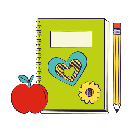 book pencil and apple back to school vector illustration Ilustracja