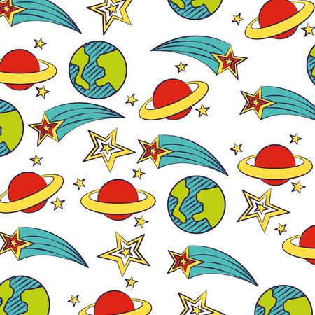 planet stars shooting star background vector illustration 向量圖像