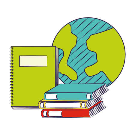 world notebook and books back to school vector illustration
