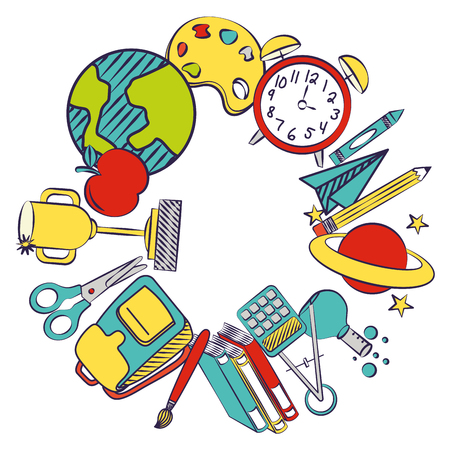 back to school frame supplies elements vector illustration Illustration